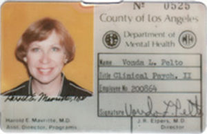Vonda Pelto ID Card for Los Angeles Men's Central Jail when she was dealing with serial killers and criminals.